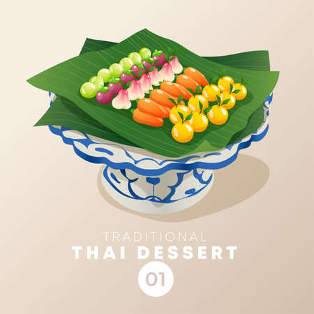 Thai dessert in traditional Thai ceramic ware : Vector Illustration