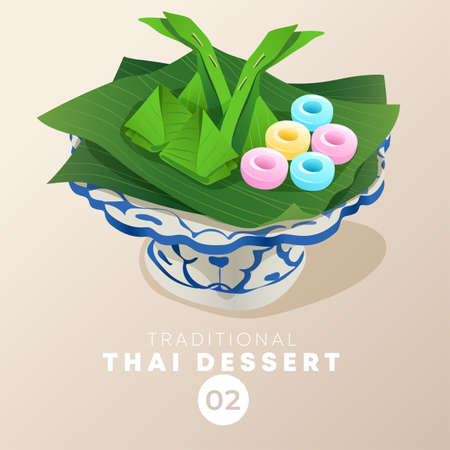 Thai dessert in traditional Thai ceramic ware : Vector Illustration Banque d'images - 151108249