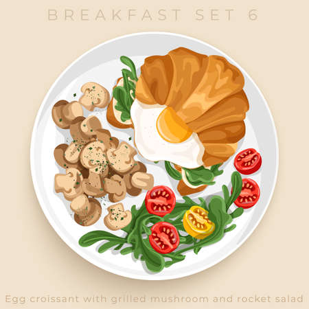 Top view of delicious breakfast set isolated on beige background : Vector Illustration