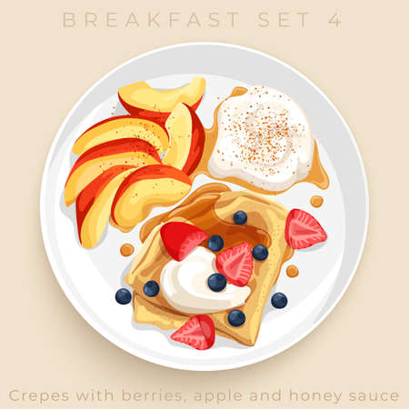 Top view of delicious breakfast set isolated on beige background : Vector Illustration Banque d'images - 151710047