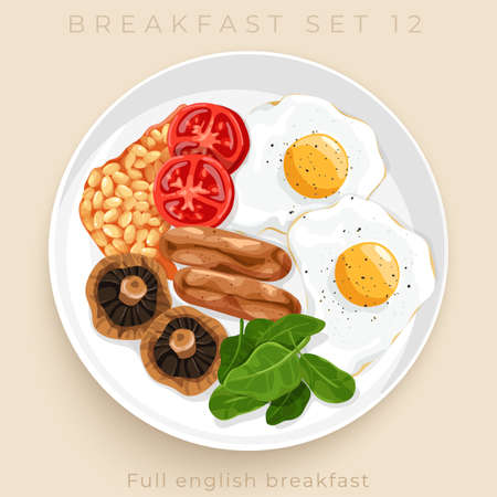 Top view of delicious breakfast set isolated on beige background : Vector Illustration Banque d'images - 151710317
