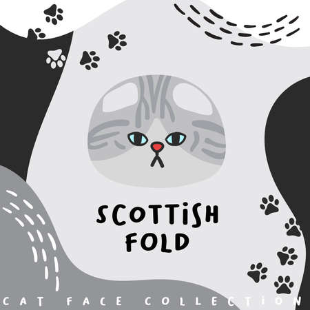 Cat face collection : Vector Illustration Çizim