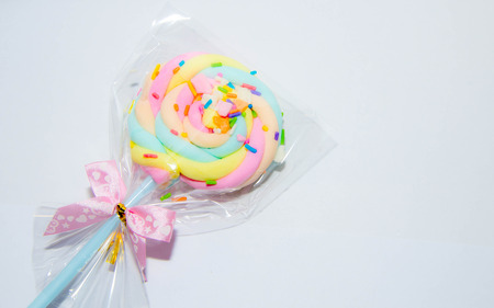 Wrapped colorful marshmallow photo