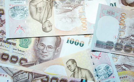 bank notes: One thousand bath Thai bank notes background Stock Photo