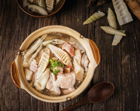 Fresh bamboo shoots and pork soup