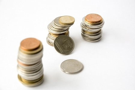 Thai baht coins in concept economy and financial Stock Photo