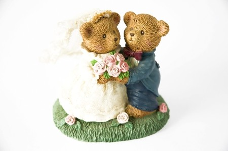 Bride and groom teddy bear in concept sweet wedding couple photo