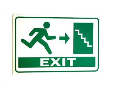 fire escape: Caution Fire Exit signs on the wall