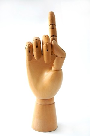 Hand model made of wooden in concept One Stock Photo