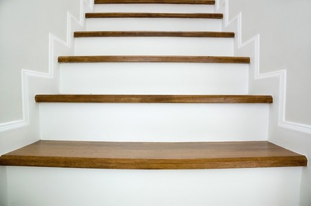 Simple wood stairway in home  photo