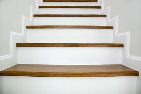 Simple wood stairway in home