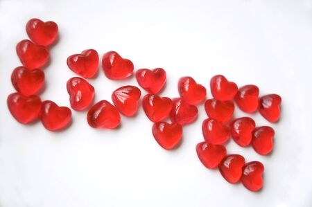 word love made of red heart jelly