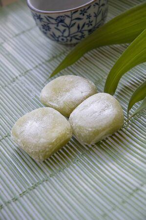 Japanese dessert Daifuku-mochi green tea