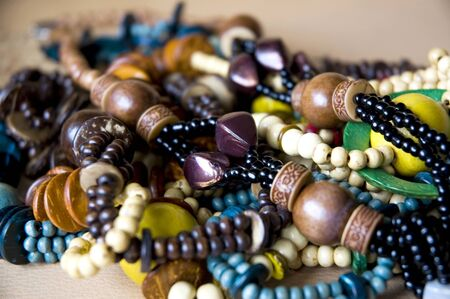 colorful of wooden bead necklace