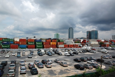 view on top of shipping containers warehouse at Bangkok,Thailand on August,2010 Stock Photo - 10868133