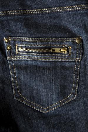 dark blue jeans pocket with zip