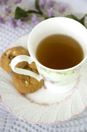 afternoon tea with cookies in sweet style photo