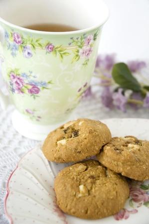 close up sweet afternoon tea set Stock Photo
