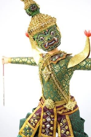 Giant costume present Khon Thai classical dancing action photo