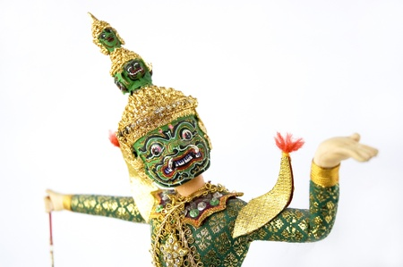 close up face of Khon classical Thai dancing photo