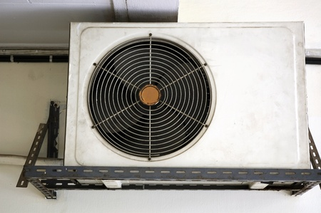 old hanging unit of compressor air condition photo