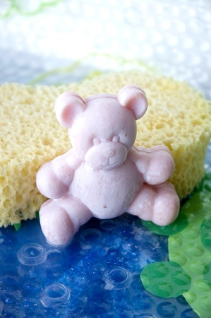 pink teddy bear soap bar in bathtime photo