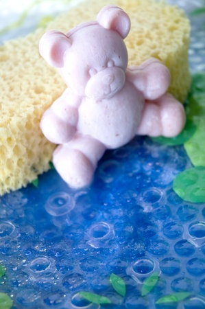 teddy bear soap bar with sponge photo