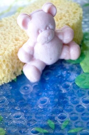 teddy bear soap bar with sponge photo