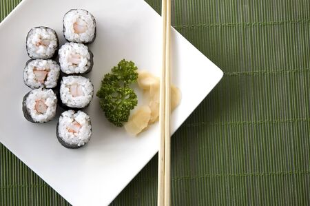 view on top of sushi set on green background Stock Photo - 13461288