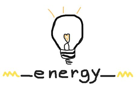 bulb light energy sketch on white background photo