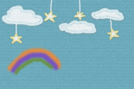 blue sky with stars and rainbow cute background photo