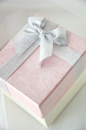close up beautiful pink gift box