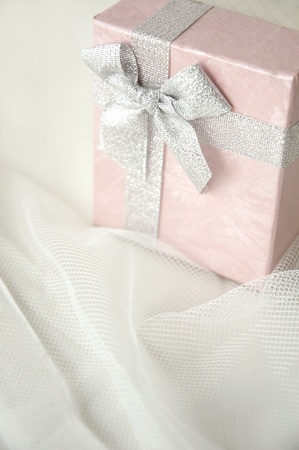 beautiful gift box in pastel color on white background photo