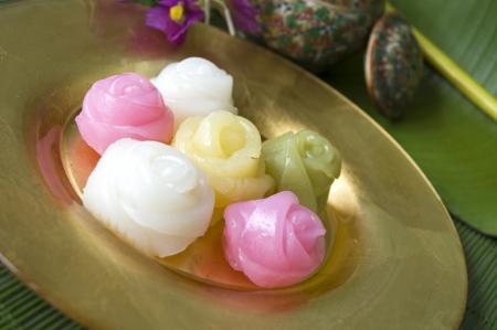 chan: Thai dessert  Khanom Chan  in roses shape
