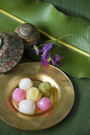 chan: Thai traditional dessert  Khanom Chan  Stock Photo