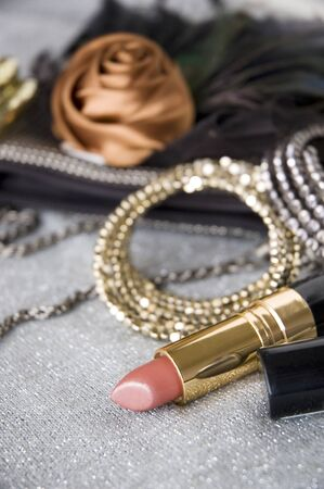 pink lipstick and accessories background Stock Photo