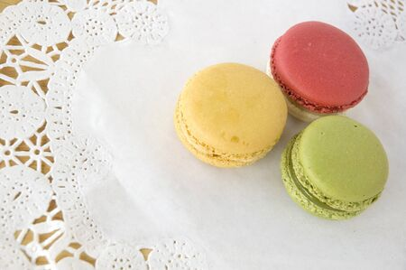 recipe decorated: colorful of french macarons dessert on white background
