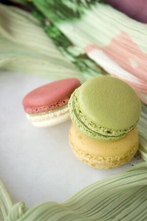 stack of sweet macarons with soft texture background photo