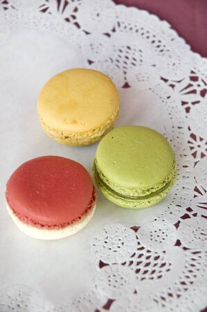 three of sweet color macarons photo