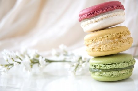 french macarons put on white plate with white floral photo
