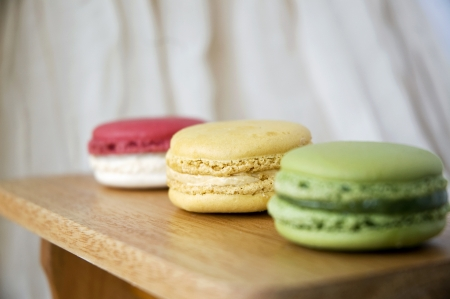 close up vanilla cream macaron in line photo