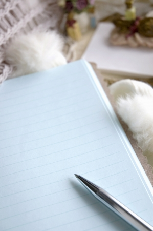 close up blank page note book with pen Stock Photo