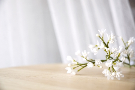 white artificial flowers put on table window side