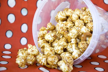pile of caramel popcorn from the bucket photo