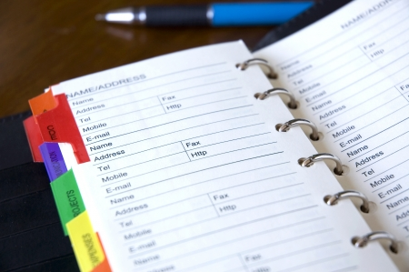 appointment book: address page on personal organizer