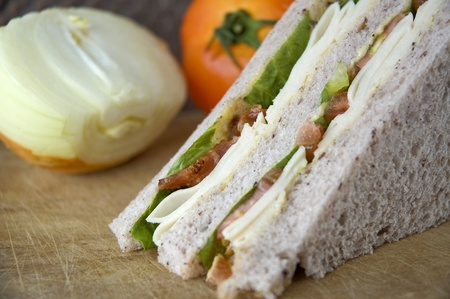 close up bacon and chicken in gaba bread sandwich photo