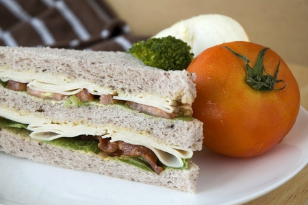 gaba bread sandwich put with fresh tomato photo