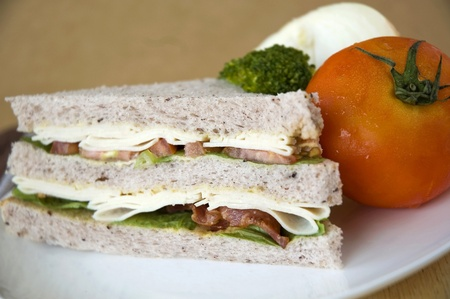 close up gaba bread with bacon and chicken sandwich photo