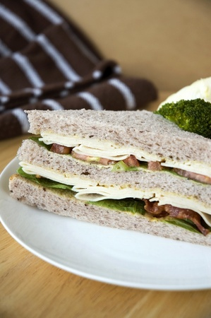 close up healthy gaba bread sandwich serve on white plate Stock Photo - 18217287