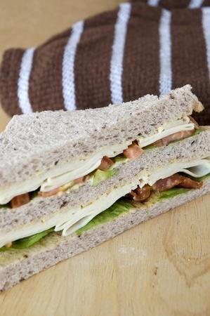 gaba sandwich put on wooden table photo